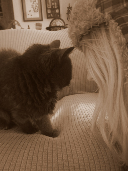 Stare-down with Rio, the wisest, most beautiful cat that ever was.